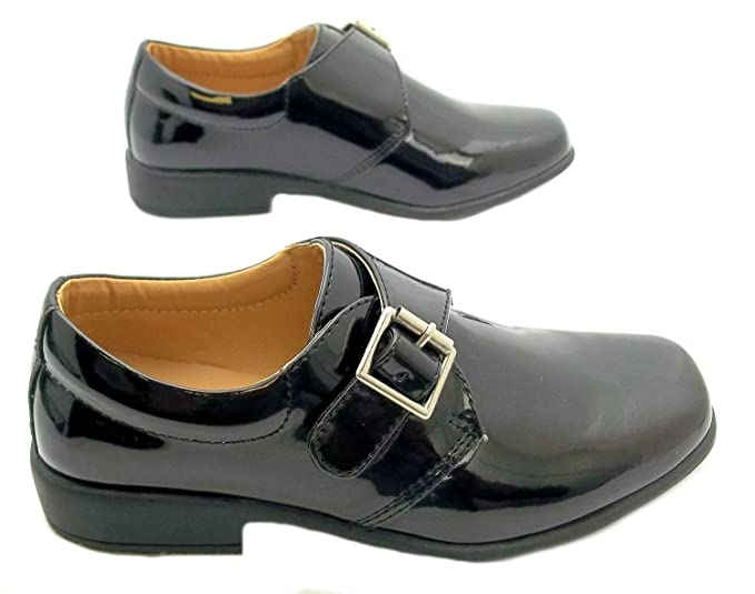 Size 10 Rsb Boys Monk Shiny Formal Black Patent Buckle Style Low Heel Shoes:  Amazon.co.uk: Shoes & Bags