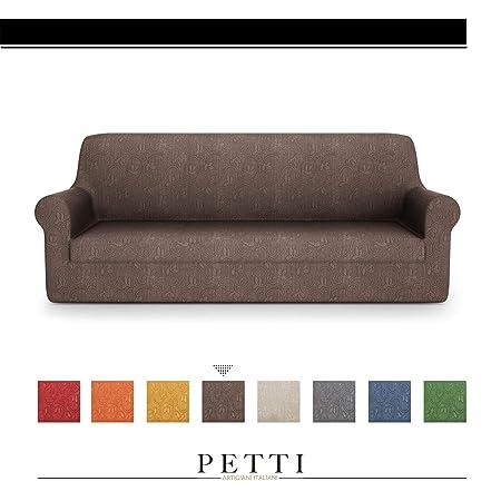 PETTI Artigiani Italiani Sillon, Marrón, Fundas Sofa Elasticas, Tejido Jacquard, 100% Made in Italy, 4 Plazas (170 a 280cm)