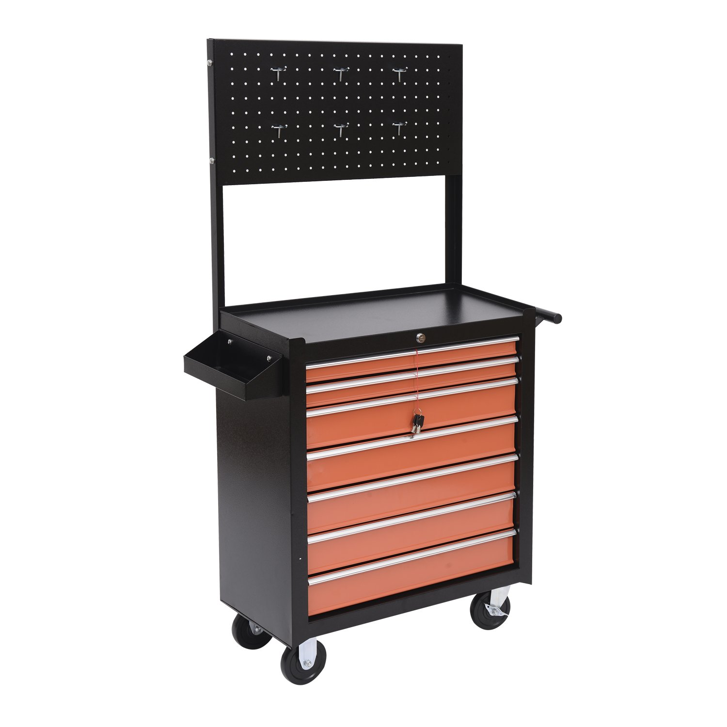 HomCom Rolling Shop Tool Cabinet with 7 Locking Drawers and Steel Pegboard Tool Storage - Black / Orange