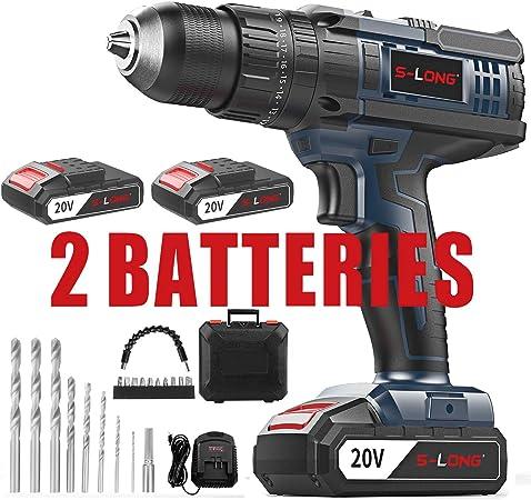 Amazon.com: Juego de taladro inalámbrico con 2 baterías y ...