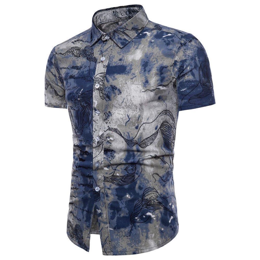 Men's Shirts, Mens Leisure Summer Short Sleeve Casual Bohe Floral Shirt Slim Fit Polo Tee Blue