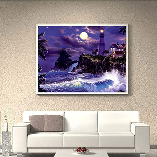 Quaanti 5D Diamond Painting,Tiger Animals Full Drill 5D Embroidery Paintings Rhinestone Pasted DIY Diamond Painting Cross Stitch,Wolf Horse Owl Butterfly Landscape,Clearance