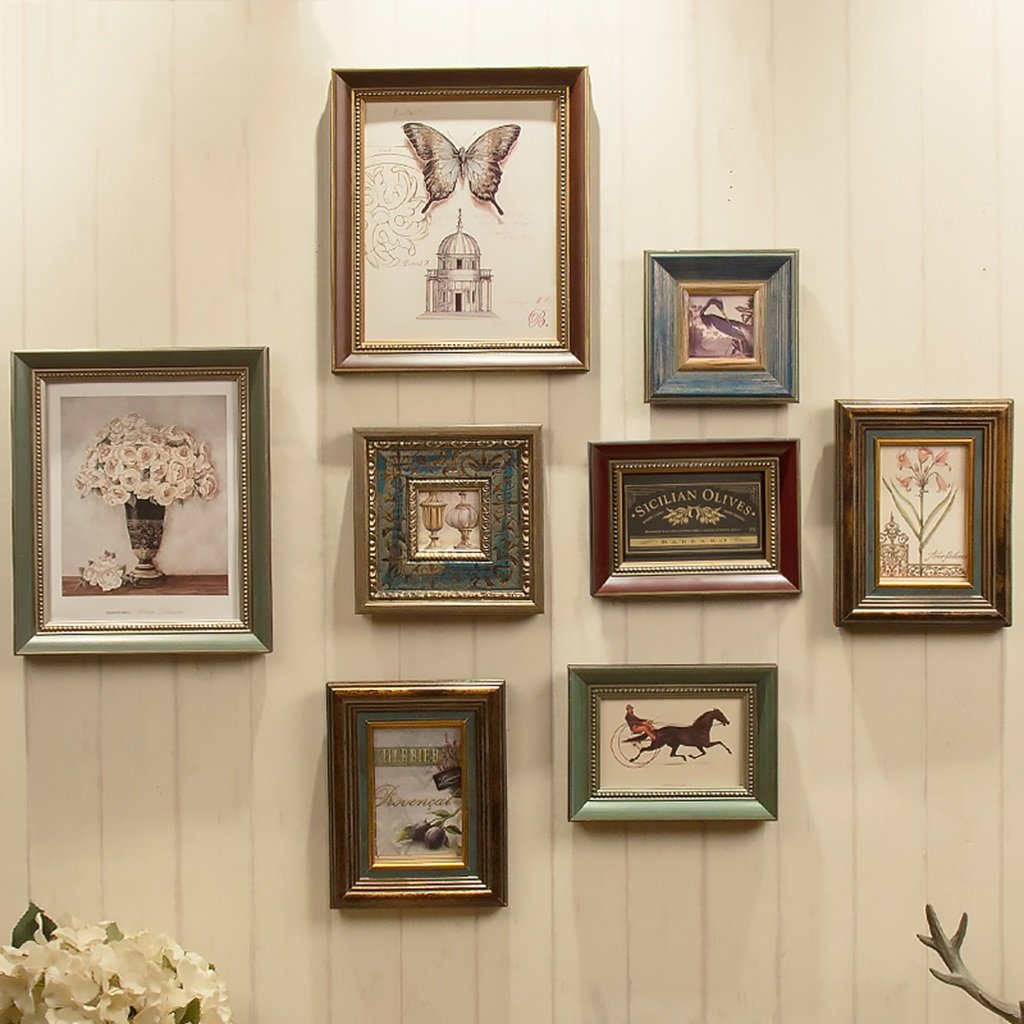 American Retro Solid Wood Picture Wall Photo Frame Modern Living Room Creative Photo Combination