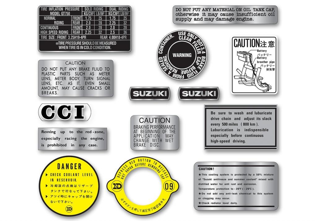 Reproduction Decals SGT-7377-750-WS Late Suzuki GT750 Warning Label Set