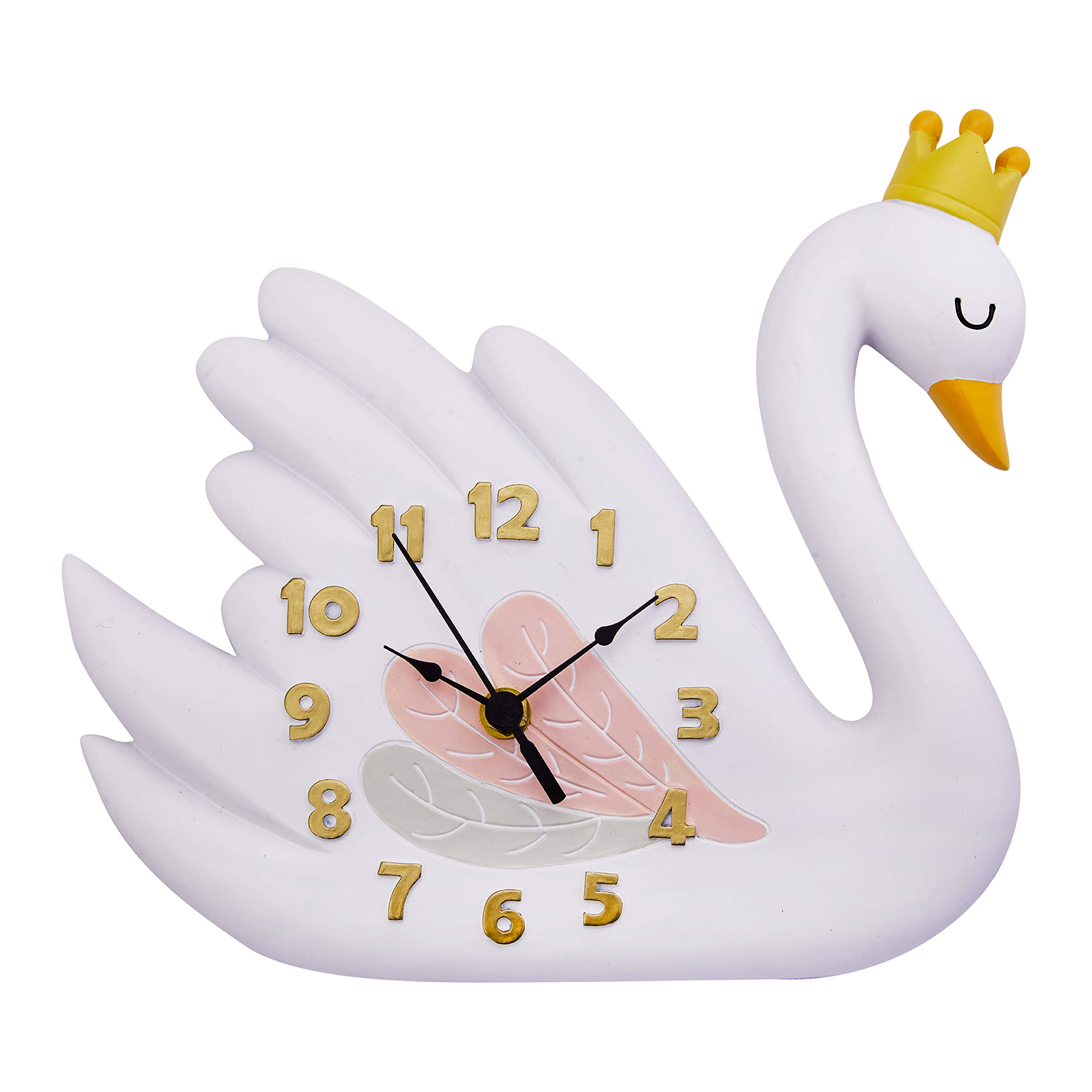 Fantasy Fields TD-12805A Swan Lake Wall Clock | Hand-Painted Kids Room Decor, Pink/White