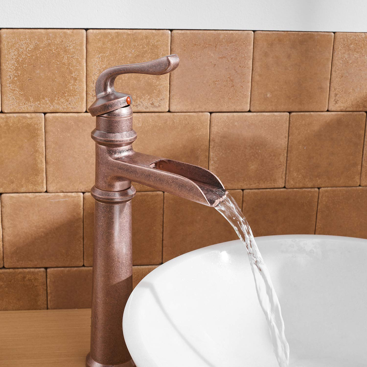 BWE Waterfall Single Handle One Hole Chrome Commercial Faucets Bathroom Vessel Sink Faucet Deck Mount 6560H-C