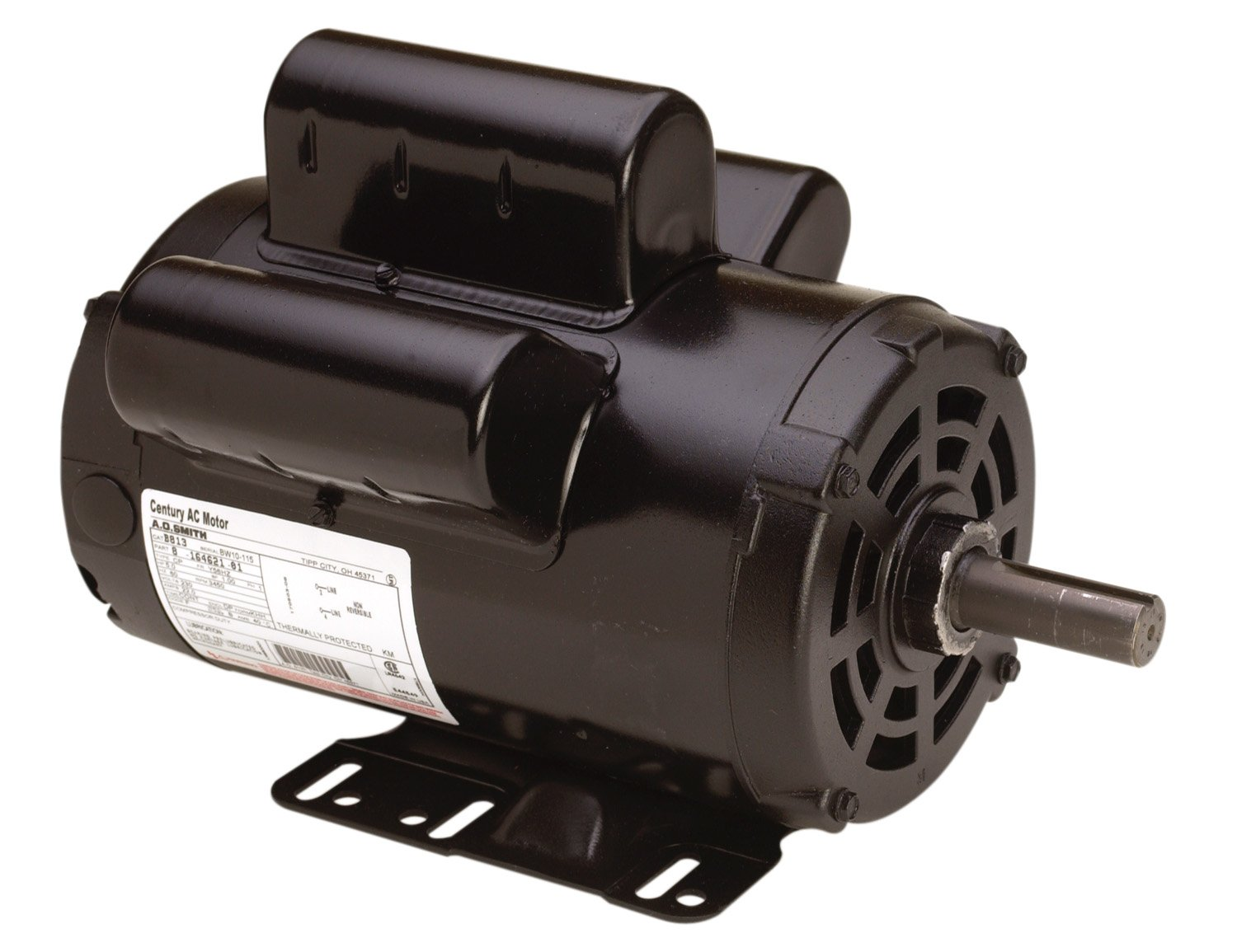 A.O. Smith AC motors B813 5 HP, 3450 RPM, 230 Volts, 22 Amps, 56HZ Frame, 1 Service Factor, CWLE Rotation, 7/8-Inch by 2.31-Inch Flat Shaft Compressor Motor by A. O. Smith
