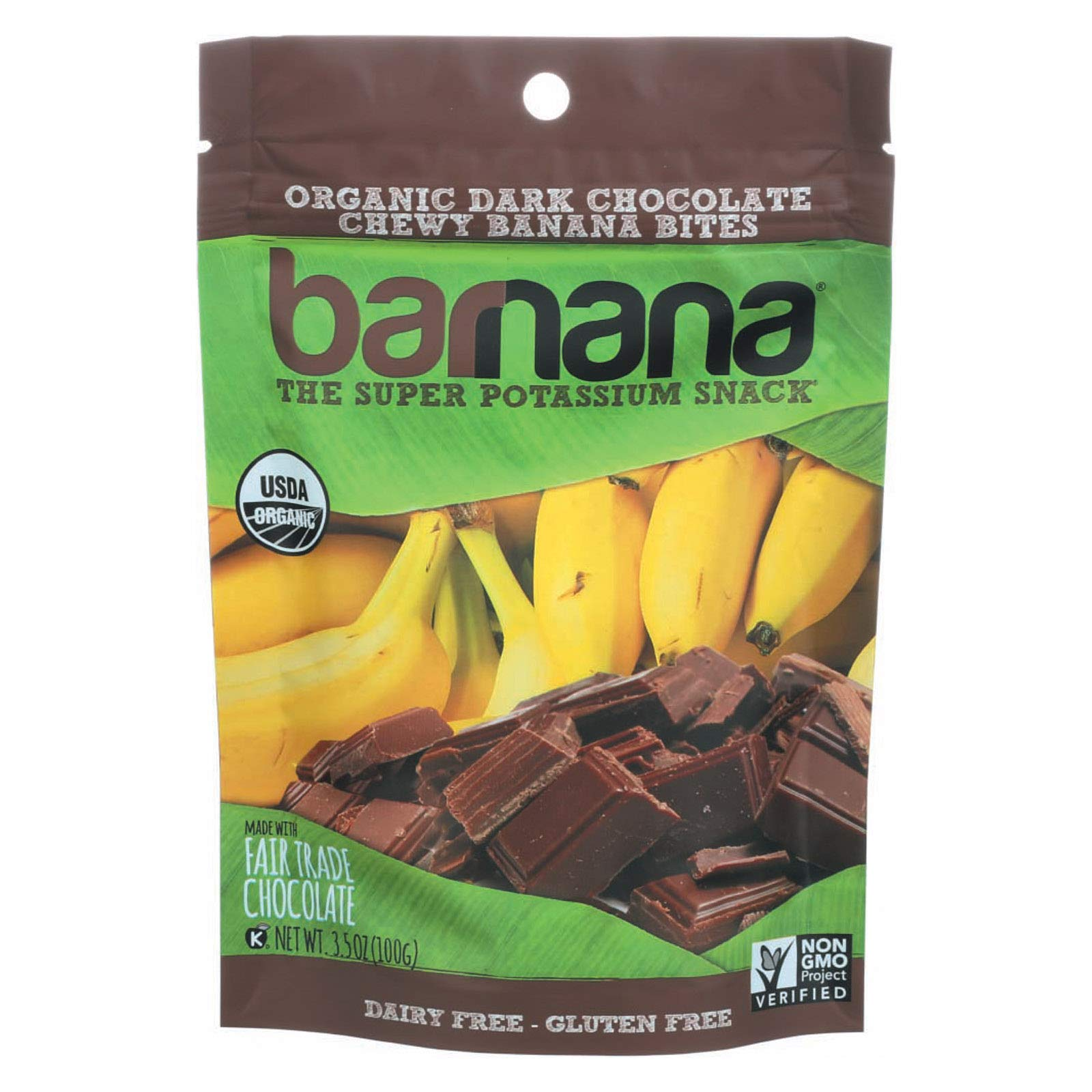 Barnana Organic Chocolate Chewy Banana Bites, 3.5 Ounce - 12 per case.