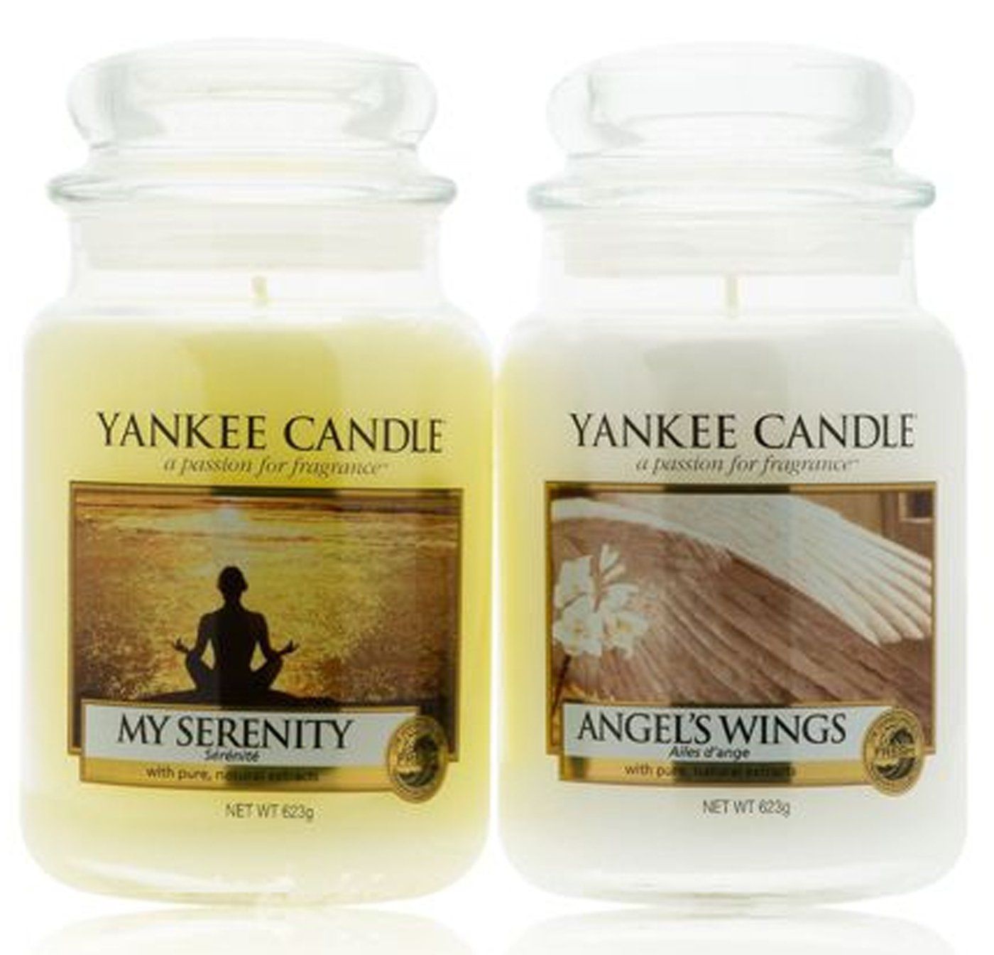 Set di 2 candele originali Yankee Candle nel tradizionale barattolo (formato grande) - Fragranze: My Serenity & Angel Wings My Planet Yankee Candle