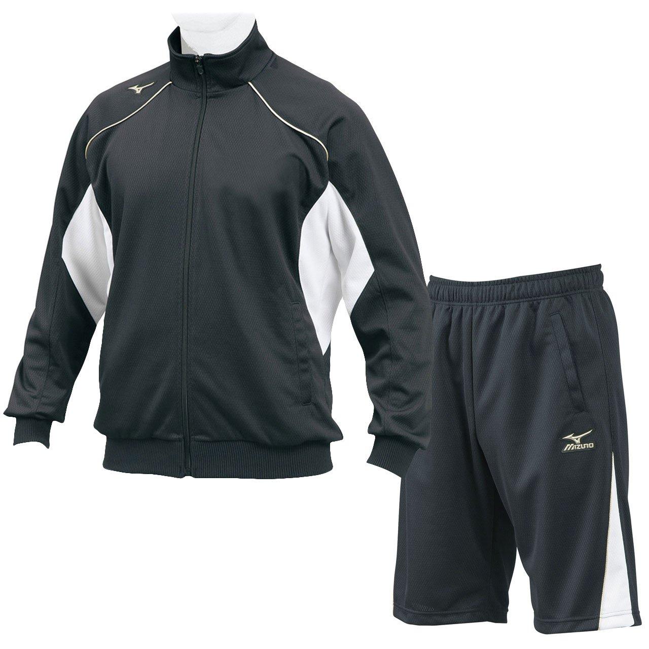ミズノ(MIZUNO) グローバルエリート ウォームアップシャツ&ハーフパンツ 上下セット(ブラック) 12JC7R10-09-12JD7H10-09 B06VYBLX86 S|ブラック ブラック S