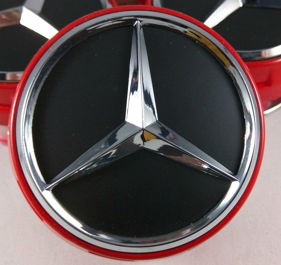 75 mm Farbe Rot UG 4 angehobene Radnabendeckel f/ür Mercedes Ersatzteil f/ür Leichtmetallfelgen.