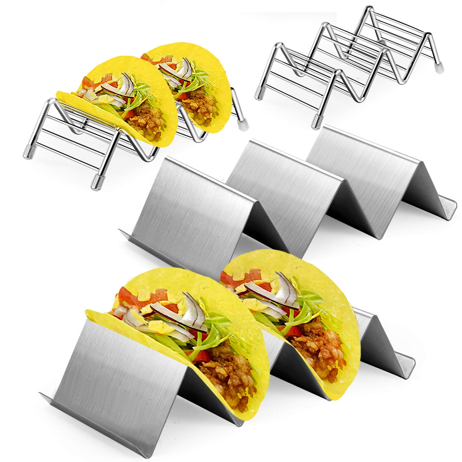 4 Pack Taco Holder, HabiLife Taco Stand Stainless Steel Holds Up to 2 or 3 Tacos or Soft Taco Shells Taco Rack Hard Wave Shape Taco holders