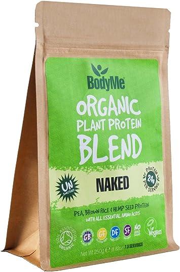 BodyMe Mezcla de Proteína Vegana Orgánica | Natural Naked | 250g Polvo | NO AZUCARADA Con 3 Proteínas Vegetales