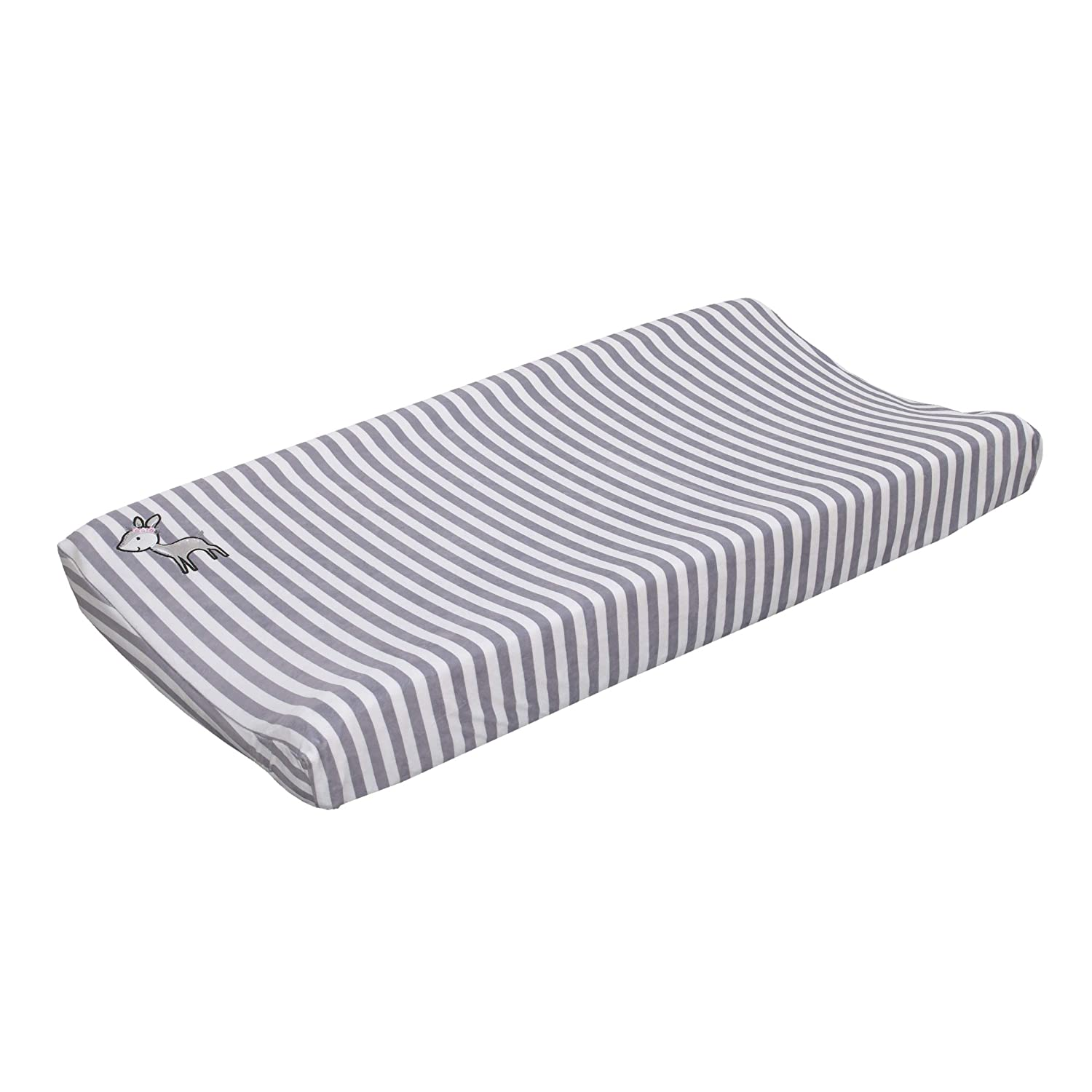 Little Love By Nojo Sweet Deer, Grey, White Stripe Plush Changing Pad Cover With Pink Deer Applique, Grey, White, Pink