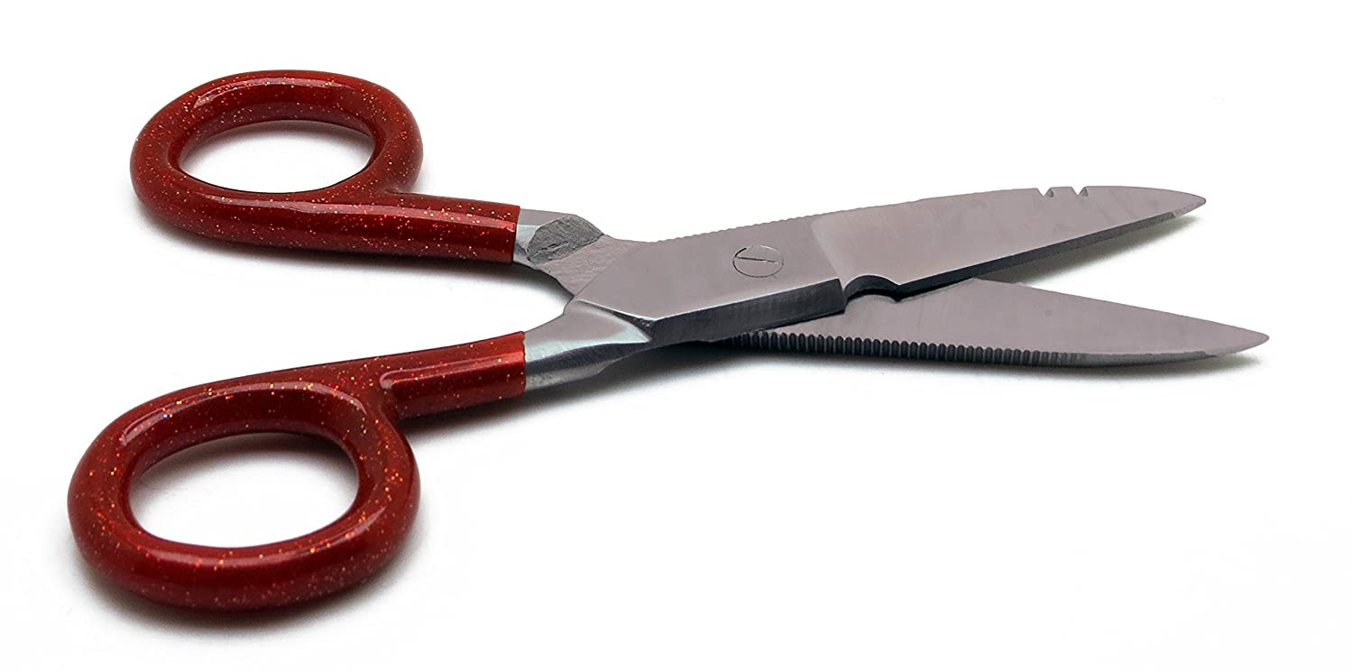 """10× Electrician Red Scissors 5.25/"""" Cutting Stripping Wires Universal Tools"""