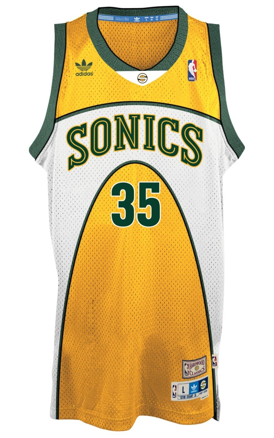 size 40 caec4 f09bb adidas Kevin Durant Seattle Supersonics Gold Swingman Jersey
