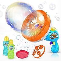 WisToyz Bubble Machine Bubble Blower DIY Bubble Gun with 2 Creative Bubble Wands, Bubble Machine for Kids Dip &Press Bubble Maker 800+ Bubbles Per Minute 2 x 8oz Bubble Solution Included Easy to Use
