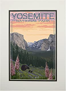product image for Yosemite National Park, California - Bear and Cubs with Flowers (11x14 Double-Matted Art Print, Wall Decor Ready to Frame)