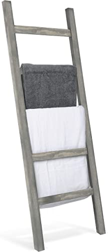 MyGift Wall-Leaning Rustic Gray Wood Ladder-Style Blanket Rack