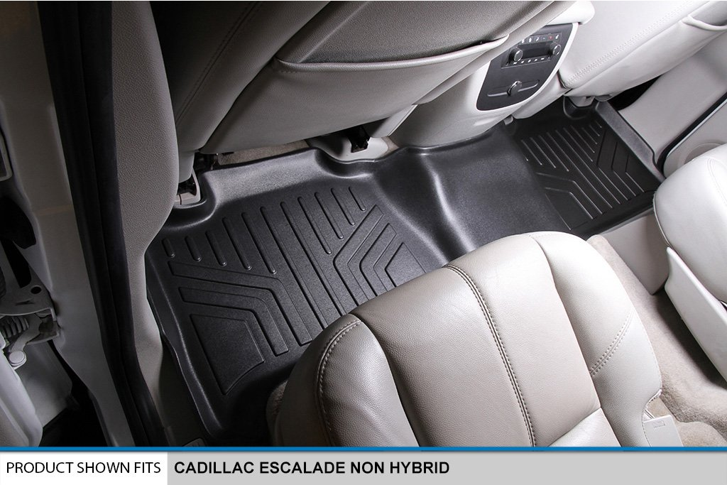 No Hybrid Models SMARTLINER Floor Mats 2 Row Liner Set Black for 2007-2014 Cadillac Escalade