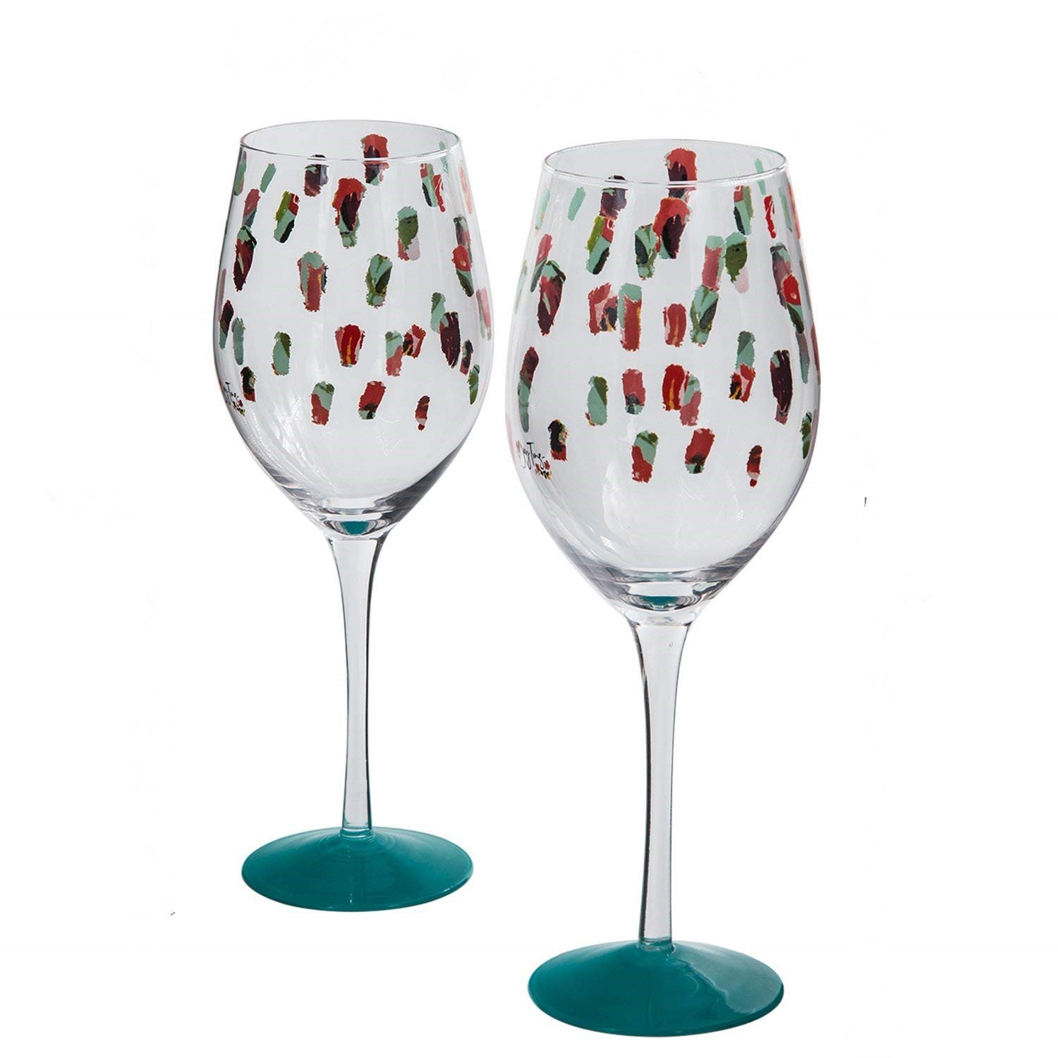 CEDAR HOME Wine Glass w/Silicone Base Hand Painted Lead Free Unique Stemmed Toasting Claret Cup, 12oz, Boho Floral Party, Teal