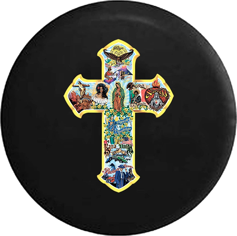 556 Gear Latino Jesus Cross Religious God Bible Jeep RV Spare Tire Cover Black 35 in