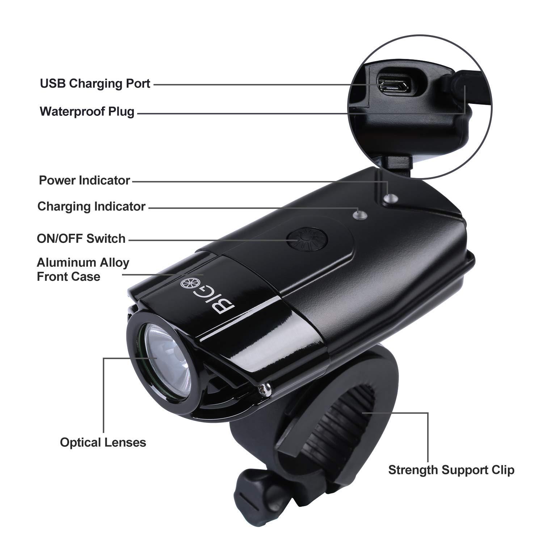 BIGO LED Bike Lights USB Rechargeable Bike Front Light 900 Lumens Super Bright Bicycle Lights Bike Headlight IP65 Waterproof 3 Light Modes Easy to Install for Cycling Safety Flashlight by BIGO (Image #2)