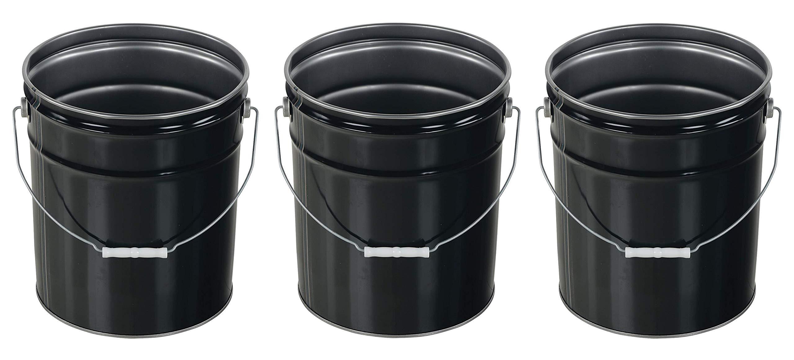 Vestil Pail-STL-RI Steel Open Head Pail with Handle, 5 Gallon Capacity, Black (Pack of 3) by Vestil (Image #1)