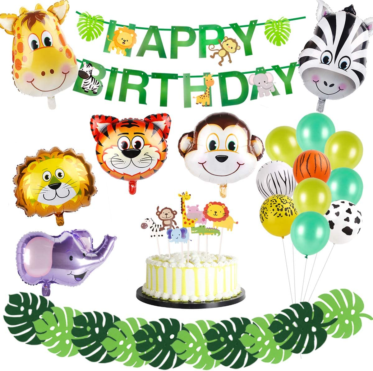Safari Jungle Animal Party Supplies – 6pcs Animal foil balloon, Latex Balloons, Green Palm Leaves, HAPPY BIRTHDAY Banner, Animal Cake Topper Safari Party Supplies , Kids Boys Birthday Baby Shower Décor