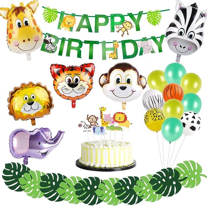 Safari Jungle Animal Party Supplies – 6pcs Animal foil balloon, Latex Balloons, Green Palm Leaves, HAPPY BIRTHDAY Banner, Animal Cake Topper Safari Party Supplies , Kids Boys Birthday Baby Shower Décor