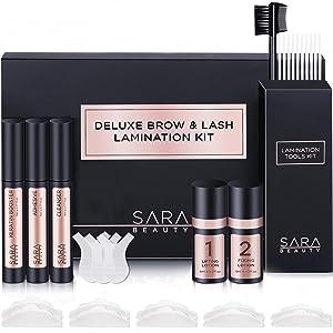 Sara Beauty Brow Lamination Kit & Lash Lift Kit   Instant Fuller Lash & Eyebrow Perm Kit with Premium Brow Brush   Ideal for Home DIY & Salon, Airless Pump Technology Long Lasting Formula Lasts 8 Weeks