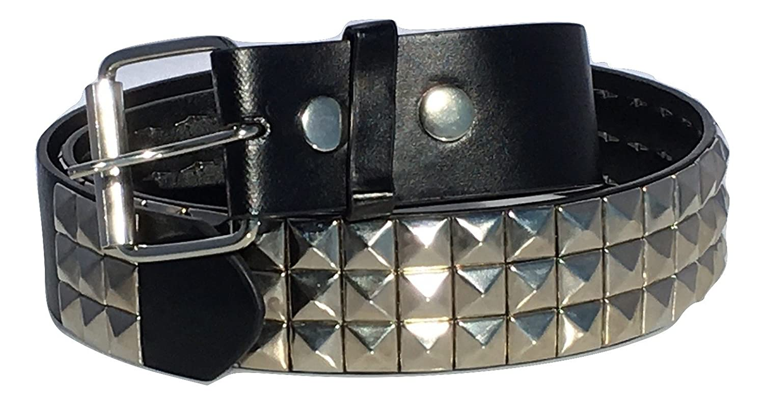 Dangerous Threads Black Studded Belt- 1 1/2 - Nickel Pyramid Studs - Punk, Goth