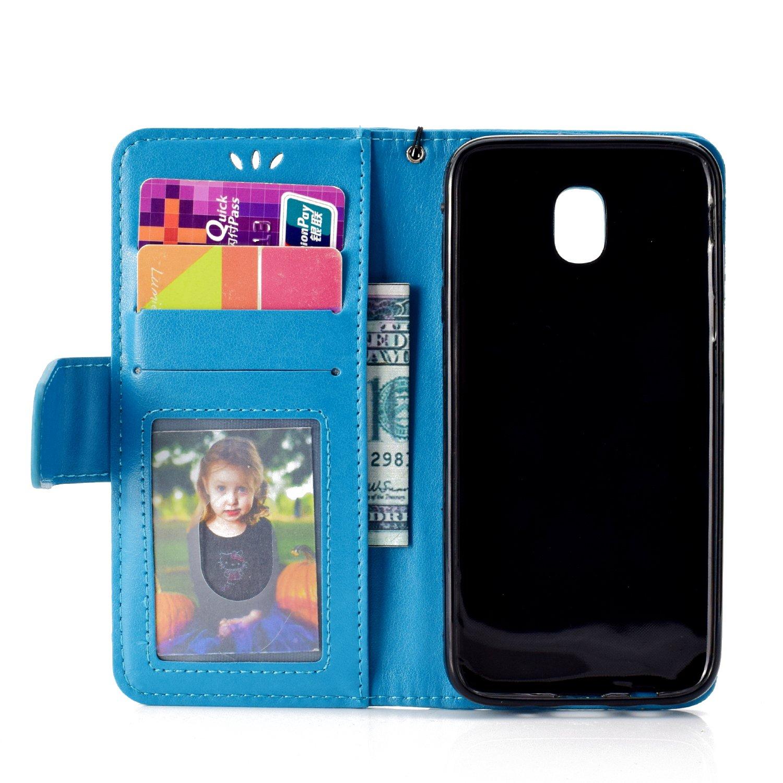 Felfy Kompatibel mit Galaxy J3 2017 J330 H/ülle Flip Handyh/ülle Leder Bleu Flip Cover Magnetschnalle PU Leder et Weich Silikon Back Case Tasche Mariner Spirit Schutzh/ülle mit Standfunktion