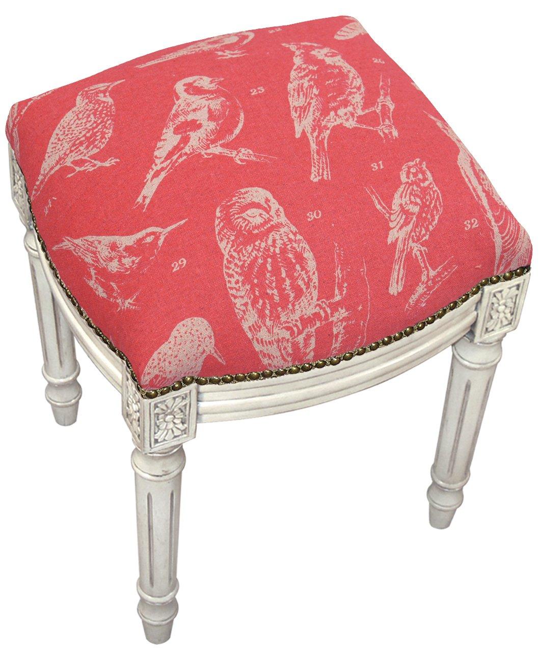 SketchONE Linen Upholstered Vanity Stool, Bird Watch, Coral Red