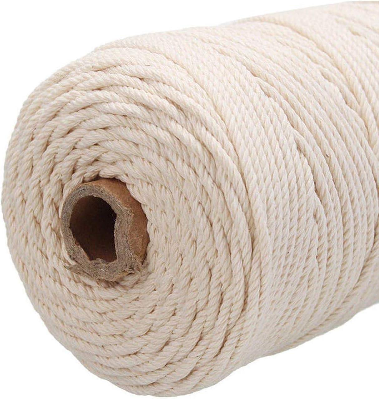 3mm x 100m Natural Handmade Cotton Cord Yarn Rope DIY Craft Knitting Wall Hanging Plant Hanger Ouinne Macrame Cotton Cord