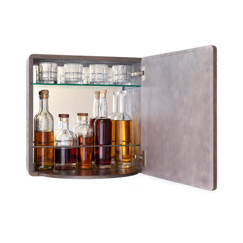 KARVD Ripple Grey Wall Mounted Liquor Cabinet