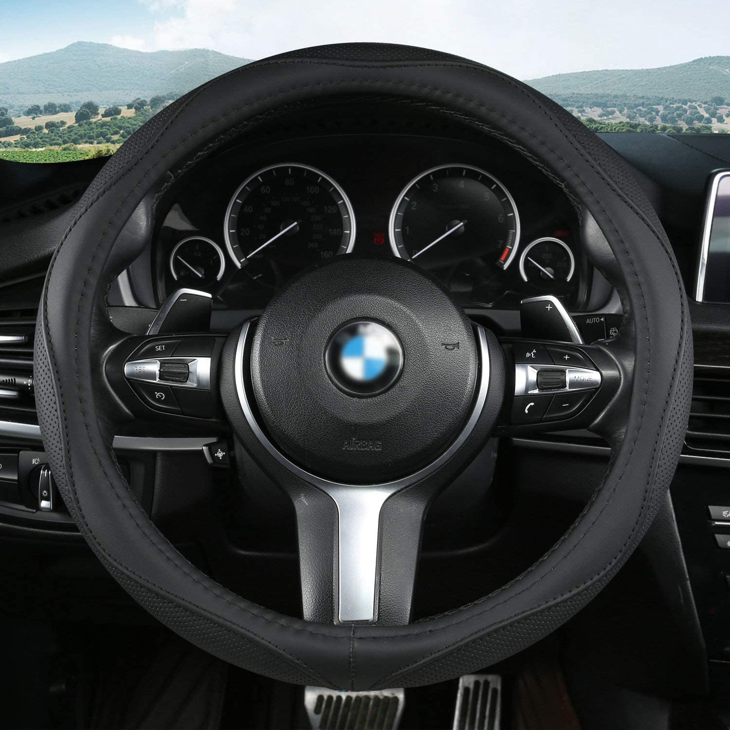 Odorless Black Universal Fit 15 Inch Car Wheel Protector- Breathable Aierxuan Microfiber Leather Steering Wheel Covers Anti Slip
