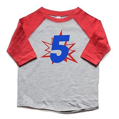 48b9f3573 Amazon.com: 5th Birthday Shirt Superhero Boy or Girl 5 Bday Tee Trendy  Fifth Five tshirt Kids Trendy: Clothing
