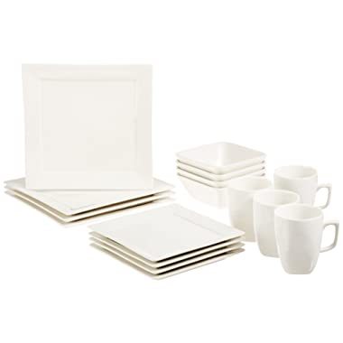 AmazonBasics 16-Piece Classic White Kitchen Dinnerware Set, Square Plates, Bowls, Service for 4