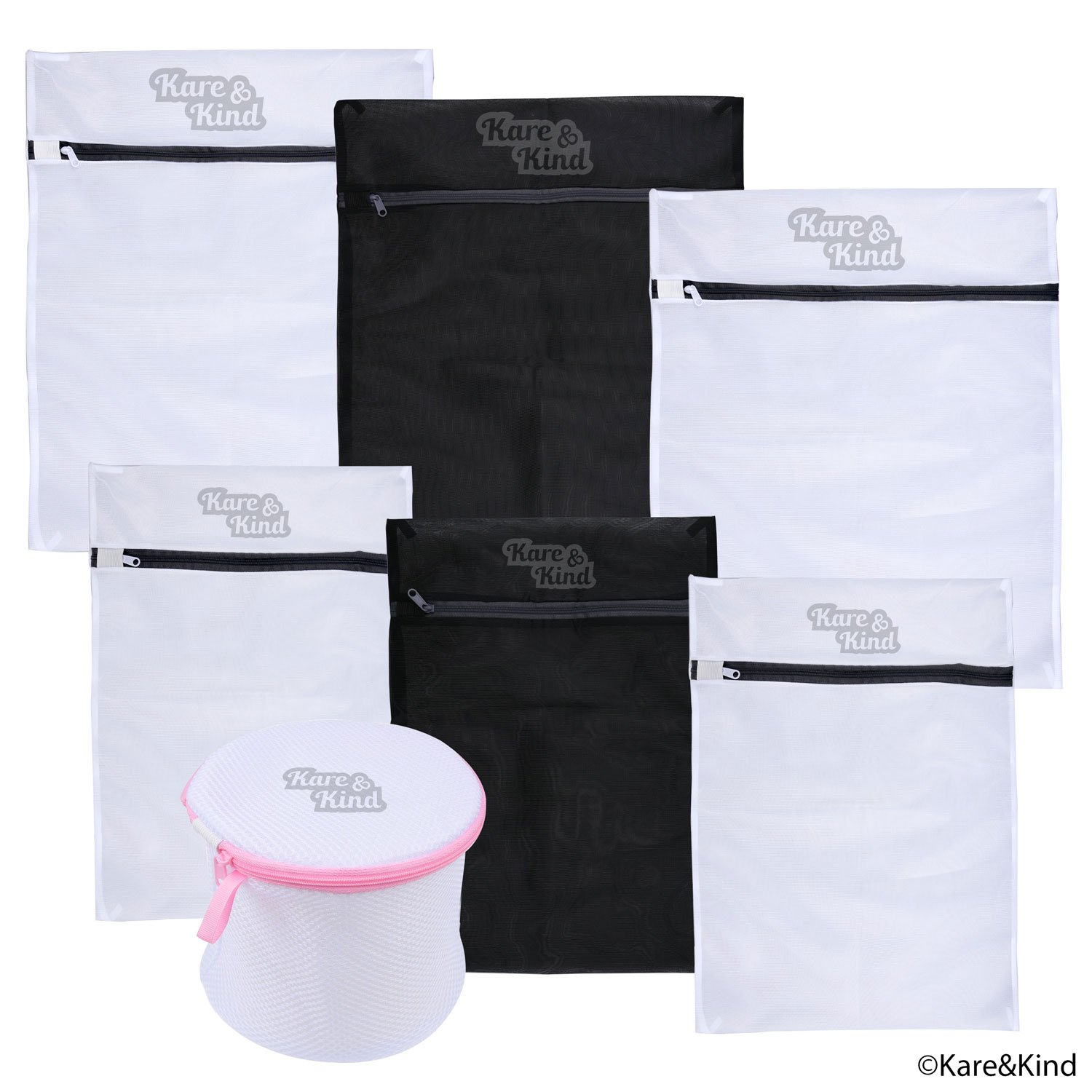 Protective Laundry Bags for Washing Lingerie and Other Delicates (Silk Stockings, Lace Underwear, etc.) - Set of 7 including Bra Wash Bag - Premium Quality Mesh - Rust/Scratch Free Zipper Kare & Kind 13_laundrybags_7_KK