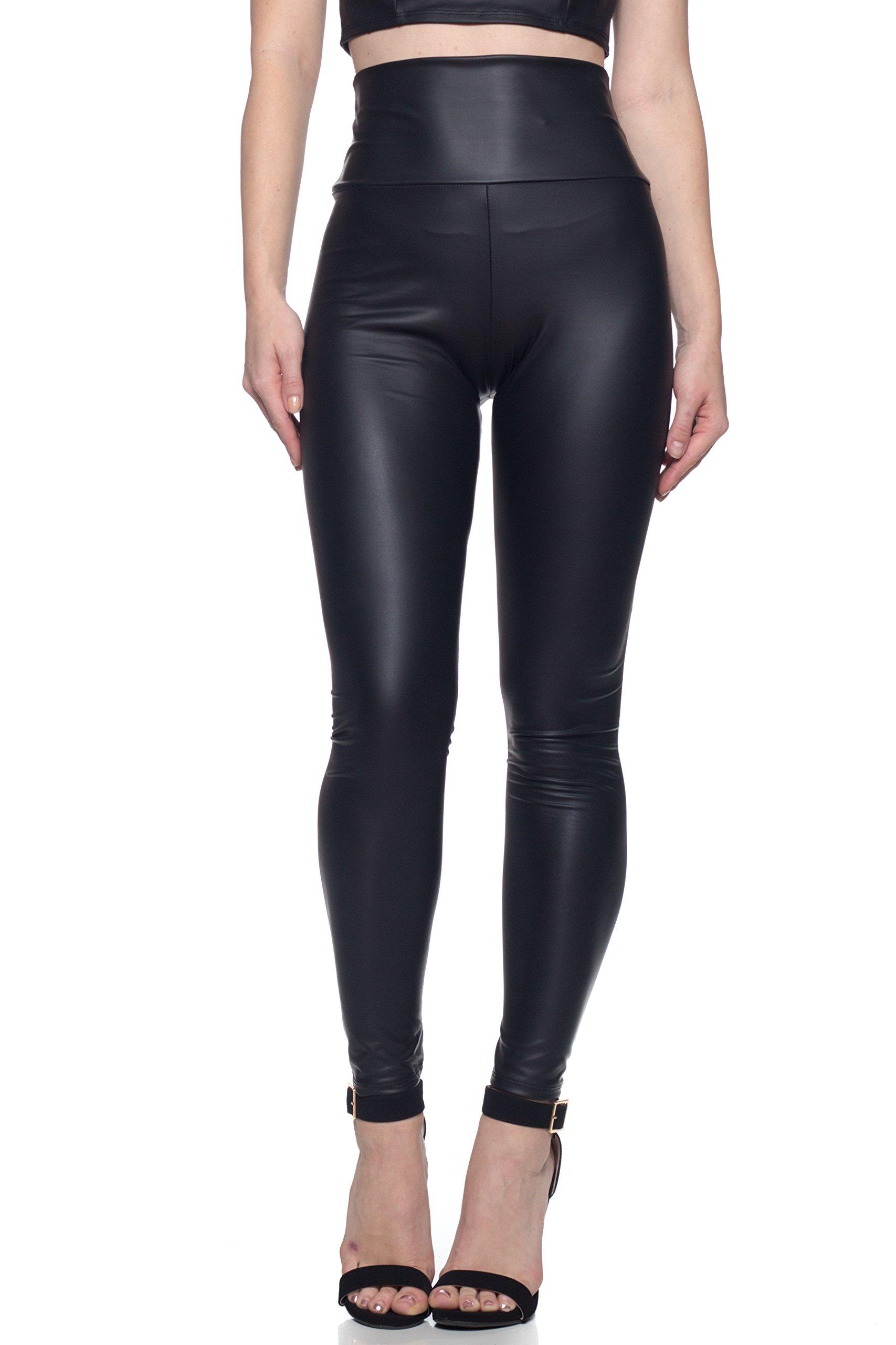 Cemi Ceri J2 Love Women's Junior Plus Faux Leather High Waist Leggings, 4X, Black