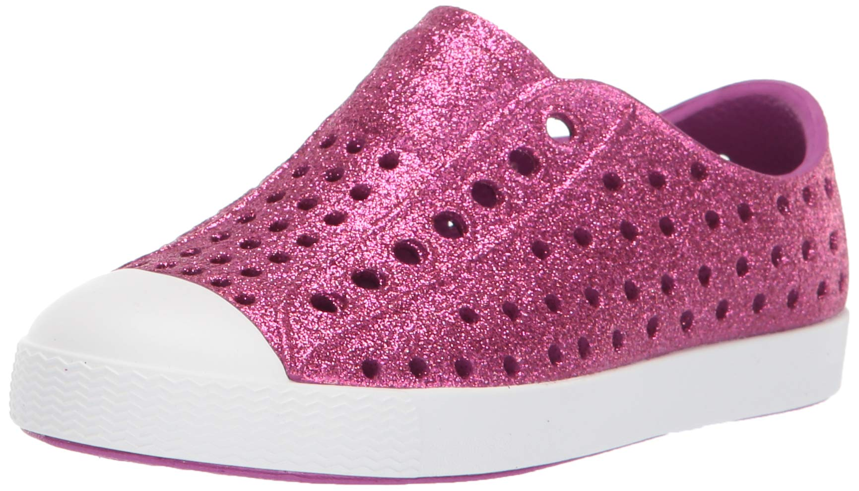 Native Kids Shoes Baby Girl's Jefferson Bling Glitter (Toddler/Little Kid) Origami Purple Bling Glitter/Shell White 4 M US Toddler