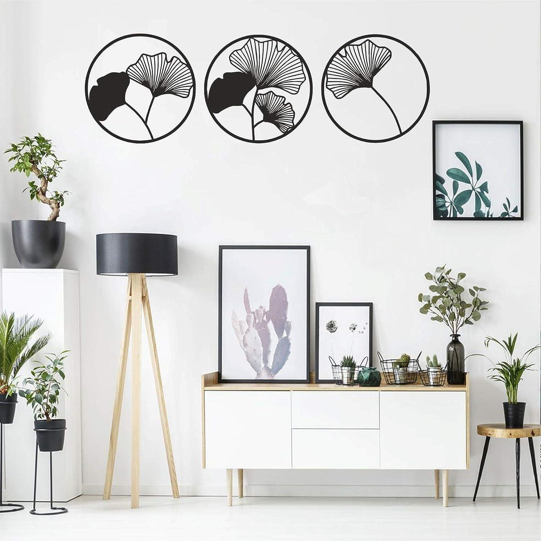 "Metal Wall Decor, Metal Flower Wall Art, Geometric Flower Sign, Metal Wall Art, Metal Wall Decor, Interior Decoration, Nature Art, Black, 3 Pieces (15""W x 15""H / 38x38 cm)"