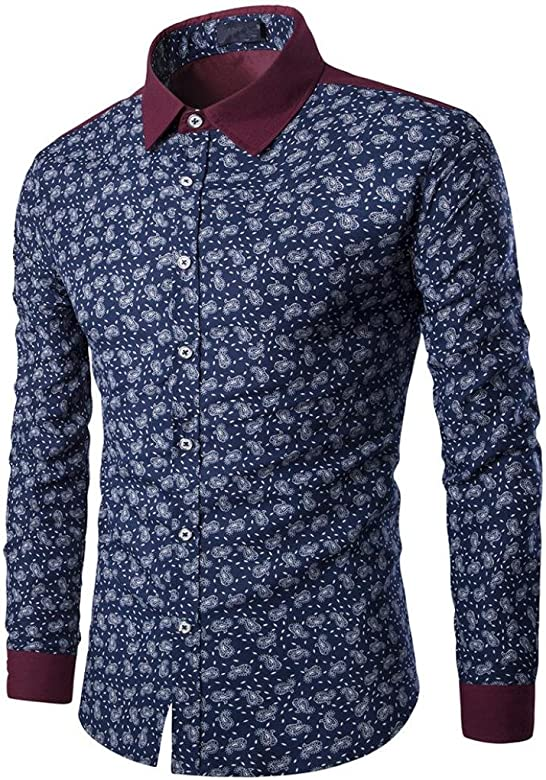 Yvelands Contraste para Hombre Botón de Solapa británica Ropa Casual Business Camisa básica Manga Larga Blusa de impresión de Tendencia Superior, Liquidación económica! (Armada, M): Amazon.es: Ropa y accesorios