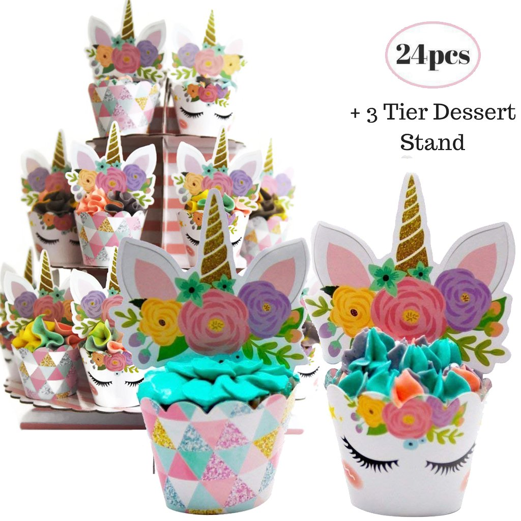 Coco & Ella Unicorn Party Cupcake Toppers Wrappers - Birthday Baby Shower Party Cake Decorations 24 Pcs Set + 3 Tier Cupcake Dessert Tower Stand
