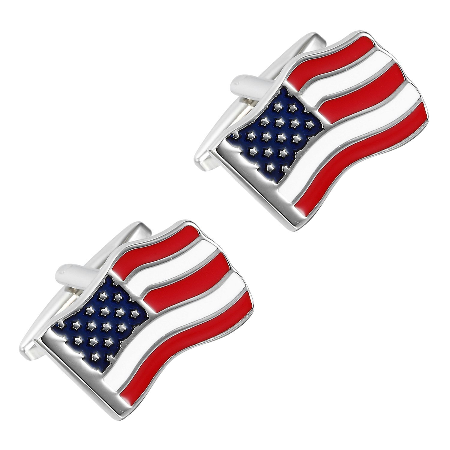 Urban Jewelry Loyal Patriot Stainless Steel USA Flag Men's Cufflinks (Red, Blue, White, Silver) by Urban Jewelry (Image #3)
