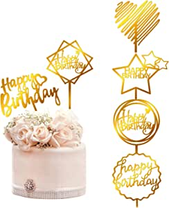 kortes 12 Pack Gold Birthday Cake Topper with 6 styles Happy Birthday Cake Decoration Supplies