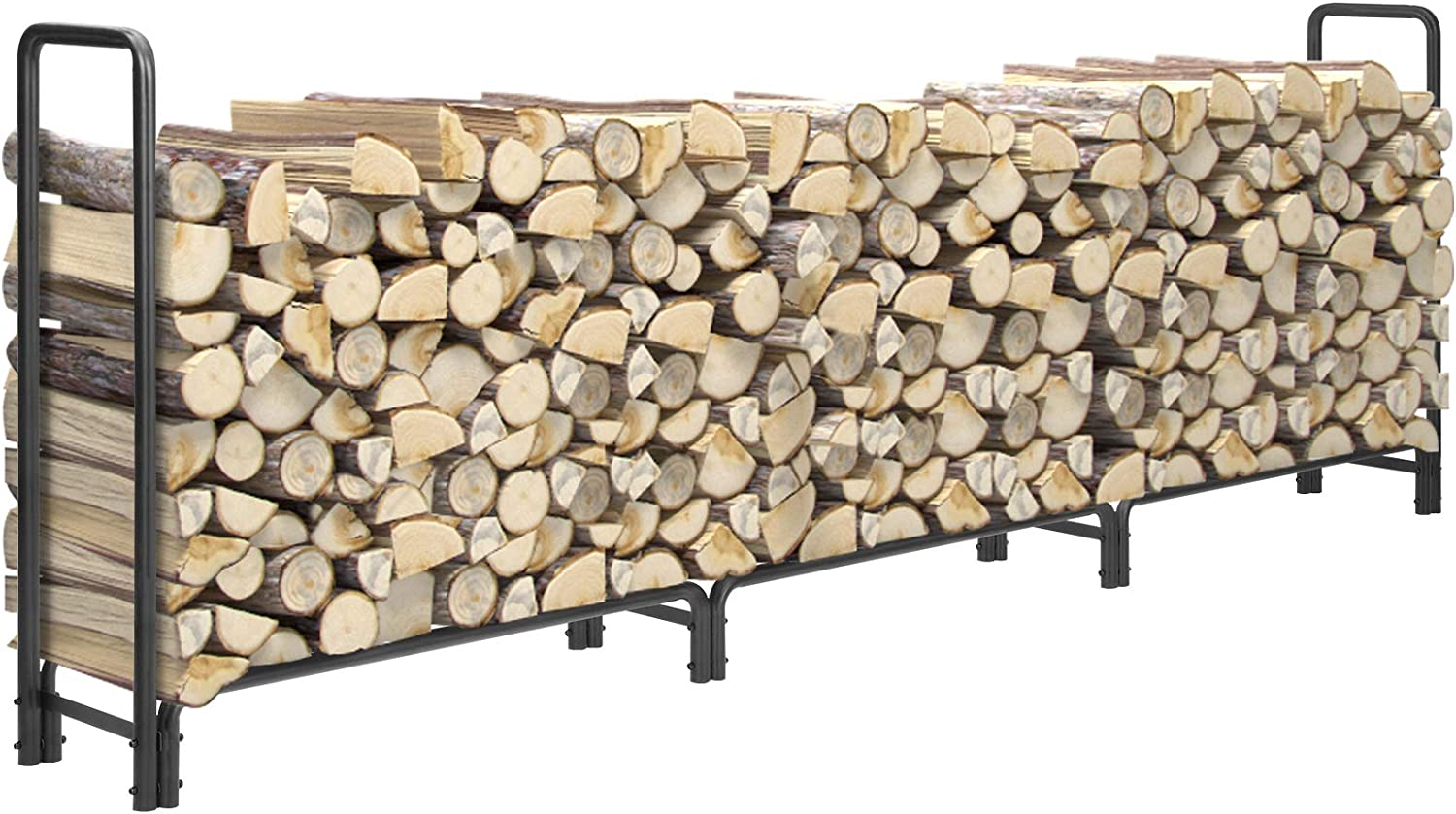 KINGSO 12ft Firewood Rack Outdoor Heavy Duty Log Rack Firewood Storage Rack Holder Steel Tubular Easy Assemble Fire Wood Rack for Patio Deck Adjustable Log Storage Stand for Outdoor Fireplace Tool