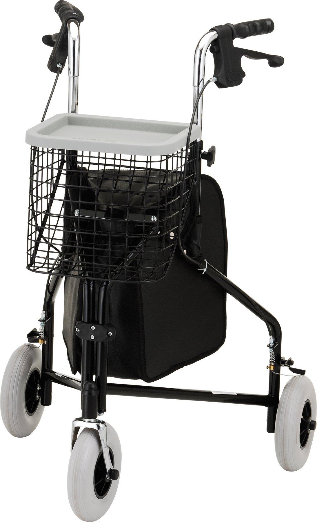 NOVA Traveler 3-Wheeled Rollator Walker, Black