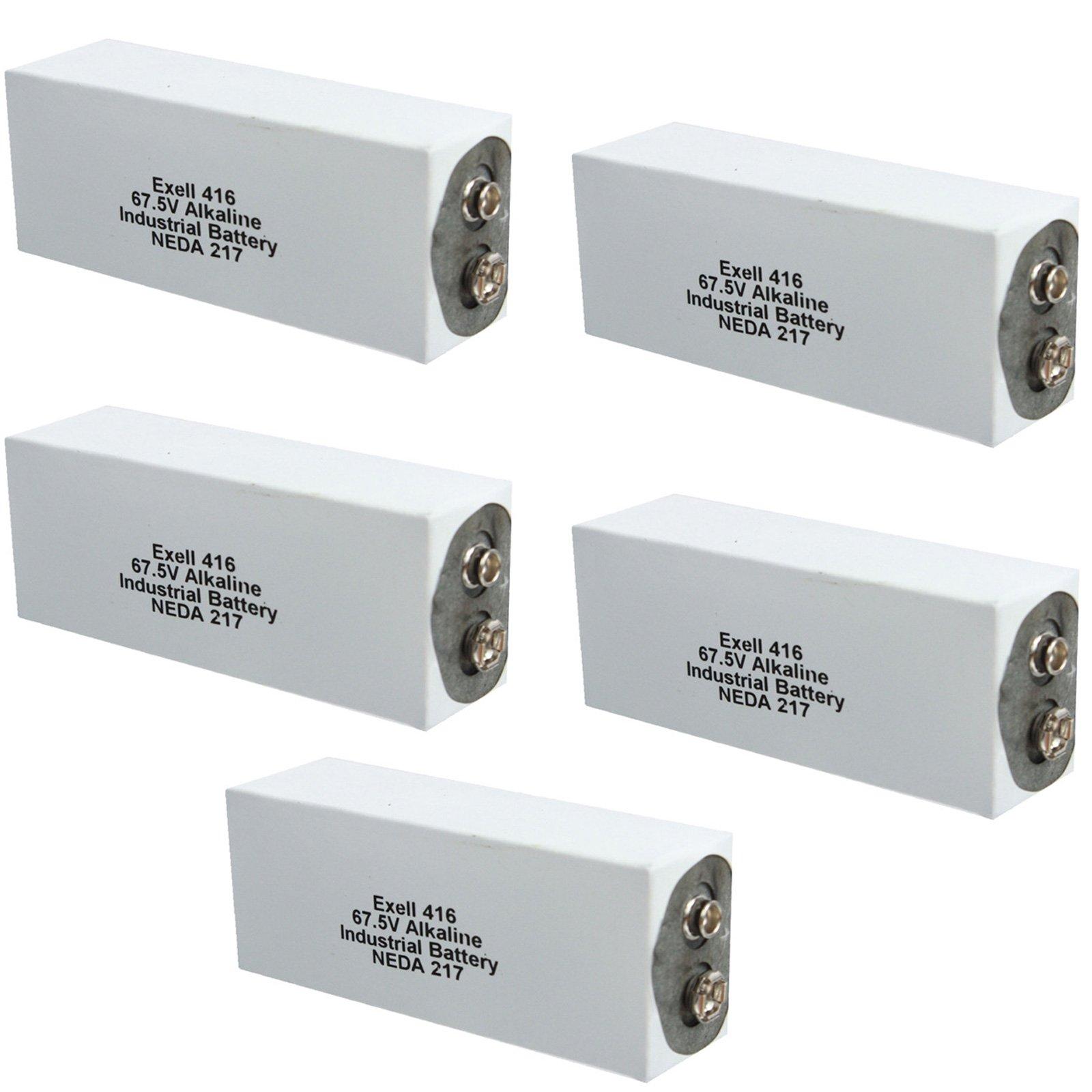 5pc Exell 416A Alkaline 67.5V Battery NEDA 217, A416, ER-416